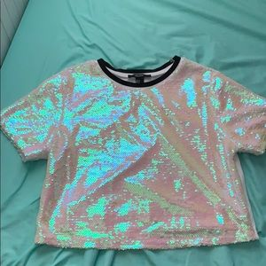 Forever 21 Holographic crop top shirt